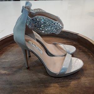 Nina | Sparkly Silver Stiletto Heels Stone Strap